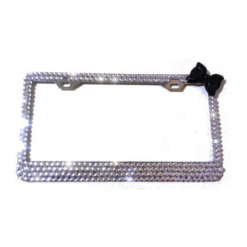 250 crystals License plate frames Crystals bling diamond rhinestone  black bow crystals
