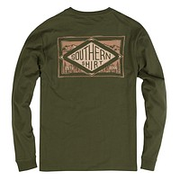 Leather Patch Long Sleeve Tee in Cypress by The Southern Shirt Co. - FINAL SALE