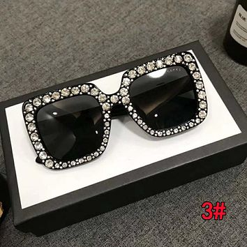 Gucci Stylish Women Personality Shiny Diamond Shades Eyeglasses Glasses Sunglasses 3#