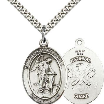 925 Sterling Silver Guardian Angel Nat'l Guard Military Catholic Medal Necklace 617759470666