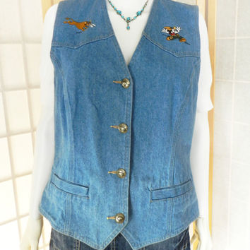 Vintage Mickey Mouse Denim Vest, Denim Sleeveless Shirt, Licensed Disney Shirt, Mickey Mouse Top, 90s Grunge Top, Denim Vest Size Large