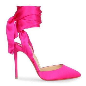 Christian Louboutin DOUCE DU DESERT Satin Ankle Tie Bow Heels Pumps Shoes $895