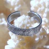 925 Sterling Silver Meander Toe or Knuckle Ring