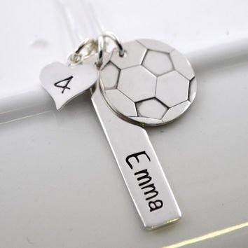 Hand Stamped Soccer Necklace Personalized with Player's Name and Number