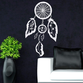Wall Decal Boho Dreamcatcher Hippie Native America Dream Catcher Decals Bohemian Bedding Home Decor Wall Art Bedroom Dorm Living Room U013