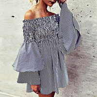 Spring New Sexy Breast-wiping, Shoulder Sexy Horn Sleeve Dress Stripe Short Skirt Only one piece Blue