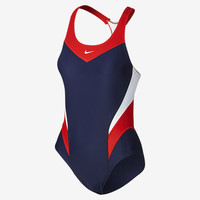 The Nike Victory Color Block Power Back Women's Tank Swimsuit.