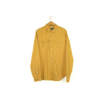 EDDIE BAUER soft flannel shirt / mustard yellow / solid color / mens L -XL