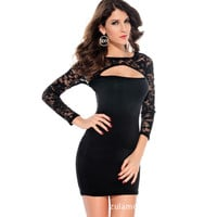 Lace Long Sleeve Slim One Piece Dress