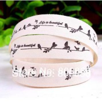 100M/lot Width:15mm ZAKKA cotton ribbon Printing cute bird life is beautiful sewing labels Cotton ribbon for DIY(ss-51)