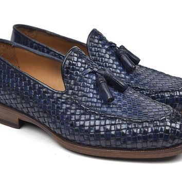Paul Parkman (FREE Shipping) Woven Leather Tassel Loafers Navy (ID#WVN44-NAVY) new