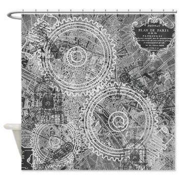 Steampunk Of Paris Shower Curtain - Map of Paris with gears and antique drawings  - Home Decor - Bathroom - maps, blue, gray, brown, beige