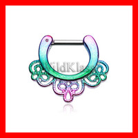 Septum Clicker 16g 14g Rainbow Florid Filigree Septum Ring Jewelry Earring Cartilage Piercing Tragus Ring Helix Conch Nose Belly Nipple