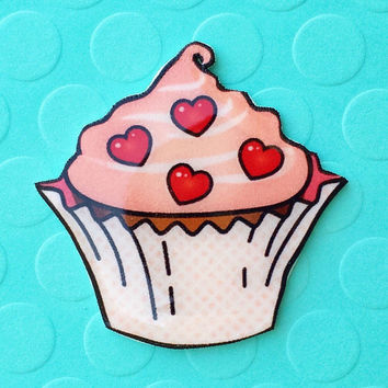 """Valentine's Day """"Cupcake Sweetheart"""" Pink Retro Cupcake Brooch with Hearts"""