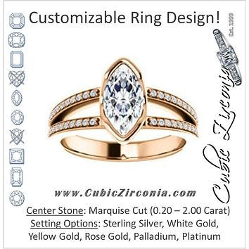 Cubic Zirconia Engagement Ring- The Monami (Customizable Bezel Marquise Cut with Split-pavé Band Accents & Euro Shank)