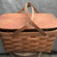 Vintage Picnic Basket from Peterboro Basket Co / Wood Handles and Wood Weave Basket with Ply Wood Top, brass hinges / Dine Al Fresco/ F220