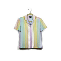 Pastel Hipster Shirt 1990s GAP Rainbow Stripe Crop Blouse Short Sleeve Button Down Shirt 90s Grunge Clothing Womens XS Extra Small