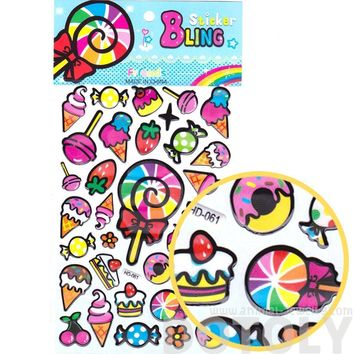 Colorful Candies Sweets Ice Cream Lollipop Shaped Food Themed Jelly Stickers for Scrapbooking