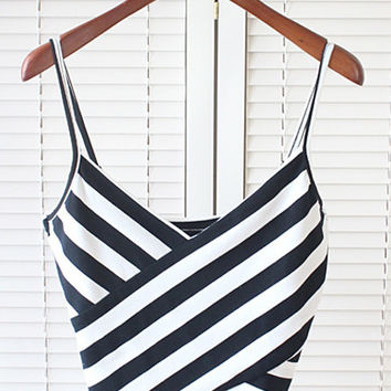 Black and White Stripe Cami Crop Top