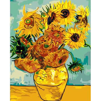 Famous Abstract Van Gogh sunflower picture on the wall acrylic painting by numbers paint by number coloring by numbers DY050