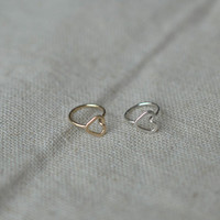 Tragus Earring,Nose Ring,Cartilage Earring,Helix Earring tiny heart 7mm Inner Diameter tragus jewelry