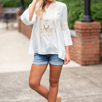 Let's Vacay Tunic, Ivory-Taupe