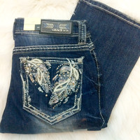GRACE IN L.A FALLING FEATHERS EASY BOOTCUT JEANS
