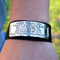 Medical bracelet, ice, personalized bracelet, men style, men, gift for him, strap bracelet , id bracelets