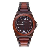 MEKU Mens Wooden Wrist Watch Two-tone Natural Sandalwood Quartz Watch Birthday Gift