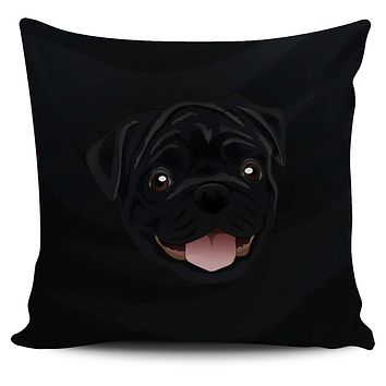 Real Black Pug Pillow Cover