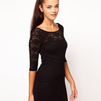 River Island Lace Body Con Dress at asos.com