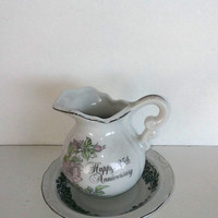 Vintage Pitcher And Dish Set Happy 25th Anniversary Enesco 1983 Porcelain Pitcher is 3.5 inches Tall Dish Is 4 And 5/8  Inches Wide