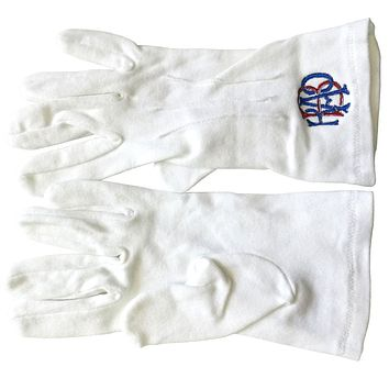 RAOB Red Blue Machine Embroidery White Cotton Gloves