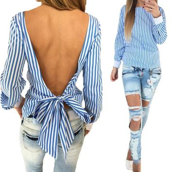 Fashion New Women Blouses 2017 Sexy Backless Bandage Striped Shirt O Neck Blouse Loose Long Sleeve Tops Tee DF1033