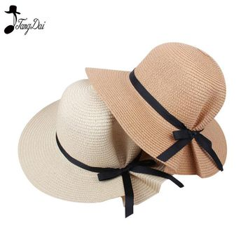 2018 Fashion Summer Straw Bucket  Hat Women Big Wide Brim Beach Hat Foldable Sun Block UV Protection Panama Hat