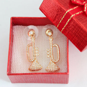 Diamante Christmas trumpet earrings, christmas horn earrings, music earrings, trumpet earrings, instrument earrings, horn earrings