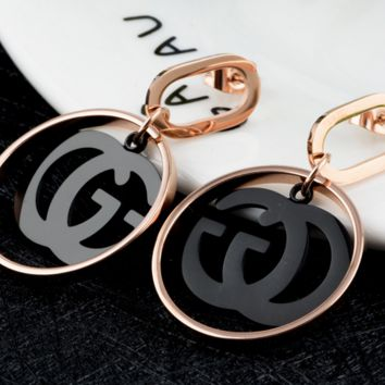 GUCCI Fashionable earring titanium steel color fastening accessories