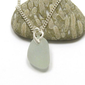 Seafoam Sea Glass Pendant Necklace Sterling Silver Heart Bail PERLA