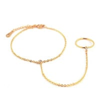 Double Ring & Chain Gold Bracelet