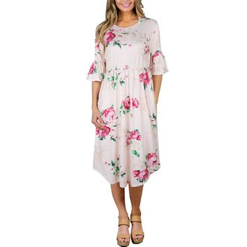 Autumn 2017 Half Flare Sleeve Floral Printed Dress Women Boho Bohemian Beach Casual Knee-Length Ball Gown Ladies Dresses Pink