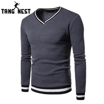 TANGNEST Black White Stitching Color Matching Breathable Layer Men's Hoodie Casual V-neck Long-Sleeved Sweatershirt Men MWW1430