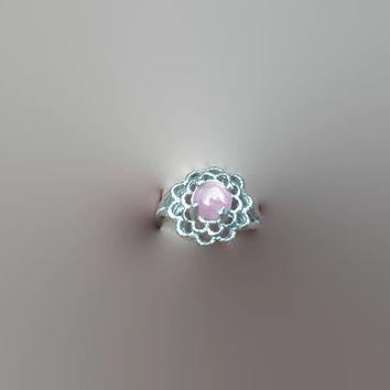 Natural Pink Rhodochrosite SS Flower Ring Size 5 3/4 Free Shipping Dainty Minimalist Ring Jewelry