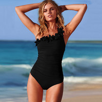 Layered One Shoulder Sexy One Piece Swim Suits Plus Size Swimwear Women Bathing Suit Swimsuit Solid Black Red cute swimwear