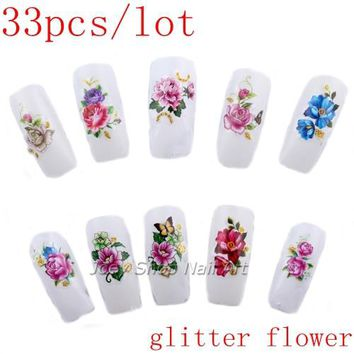 33pcs Flowers with Gold Glitter Nail Art Stickers Water Decals Water Transfer Nail Sticker Wraps False Nails Accessories