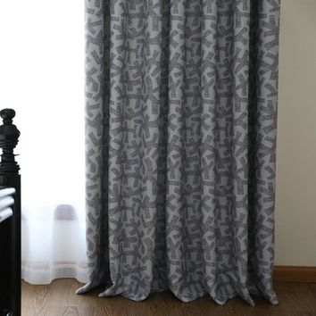 Winter thick printed blackout shower curtains panels with hooks and clips