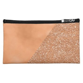 Copper Glitter Modern Trendy Cosmetic Bag