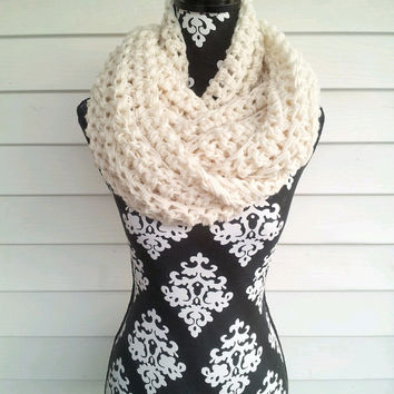 Winter White Chunky Infinity Scarf