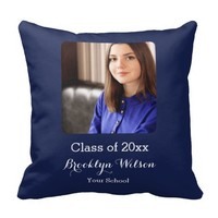 Custom Graduation Gifts Navy Blue Throw Pillows