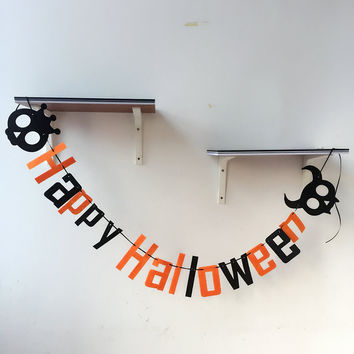 1pcs Fabric Happy Halloween Skull garland banner trick or treat pennant party decoration HalloweenParty  favor Supplies