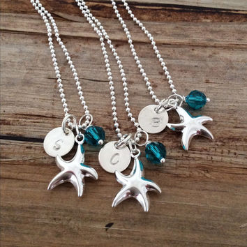 Silver Bridesmaids Personalized Charm Necklaces, Bridal Party Gift Set, Starfish, Letter Pendant, Monogram, Initial, Set of 7 8 9 10 11 12